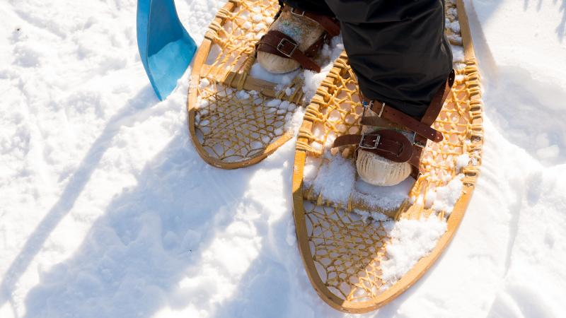 Closeup of person wearing snowshoes