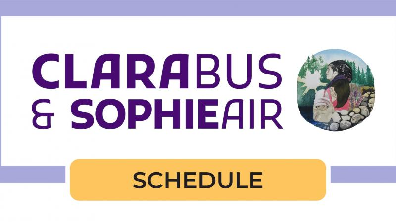 Purple campaign stamp for Clara Bus and Sophie Air with small Natasia Mukash illustration