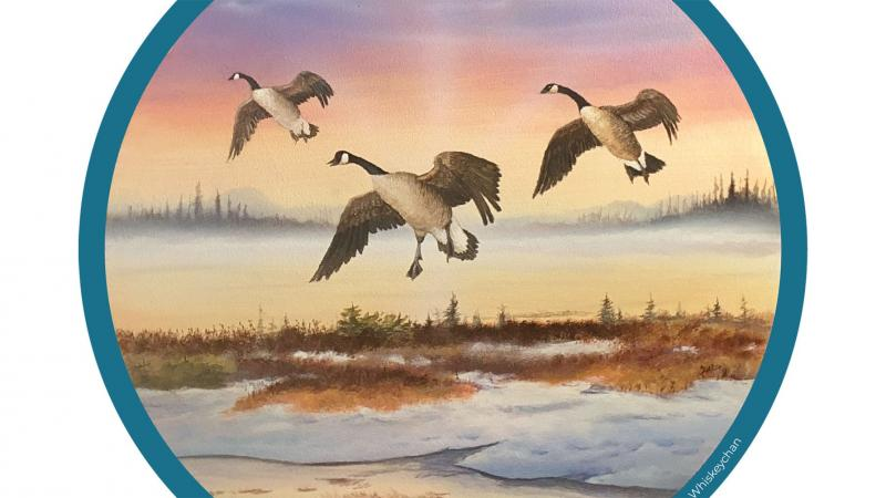 Illustration of 3 geese flying above marsh