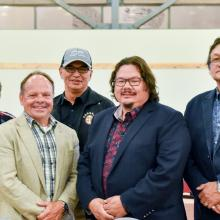 Bella Moses Petawabano, CBHSSBJ Chairperson of the Board of Directors; Daniel Saint-Amour, CBHSSJB Executive Director; Jason Coonishish, CBHSSBJ Coordinator of Pre-Hospital and Emergency Measures; Cree Nation of Chisasibi's Chief Davey Bobbish and George L. Pachano, CBHSSJB Board Representative at the First responder service agreement signing ceremony.